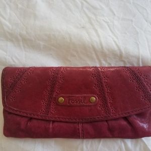 Retro Burgandy Leather Fossil Wallet